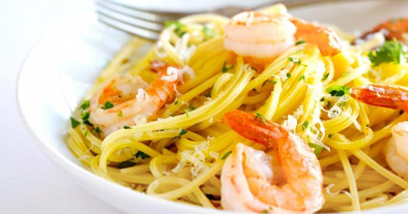 лучшие спагетти с креветками