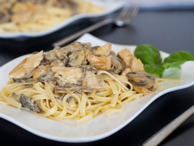 паста с курицей и грибами рецепт с фото
